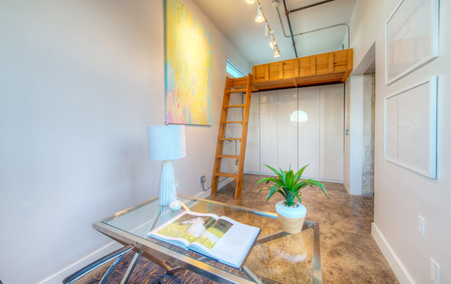 Elite austin interior design texas eclectic loft office mezzanine elite austin Home furniture rental austin texas