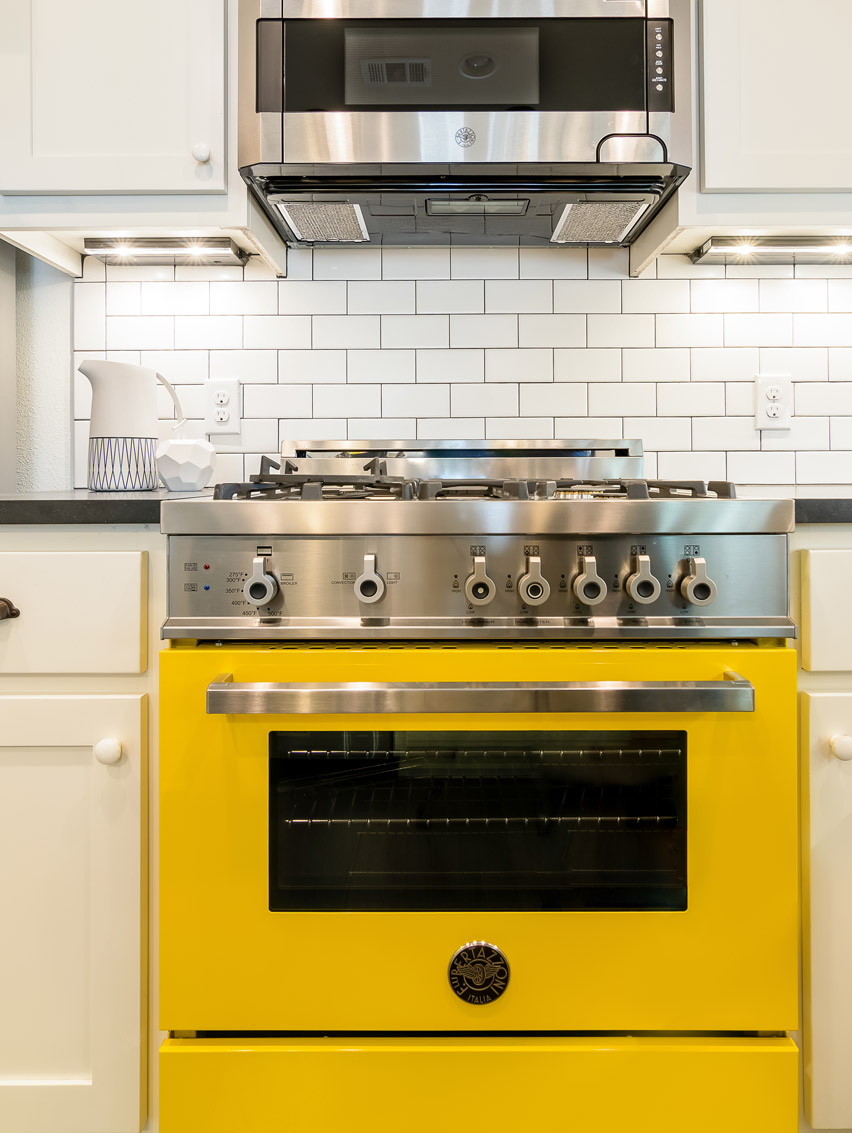 Elite Austin Interior Design Texas Rosewood Midcentury Kitchen Yellow Stove Elite Austin