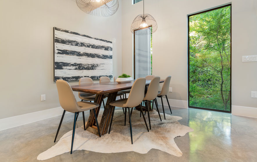 Elite austin interior design texas modern greenhouse dining room 112 elite austin Home furniture rental austin texas