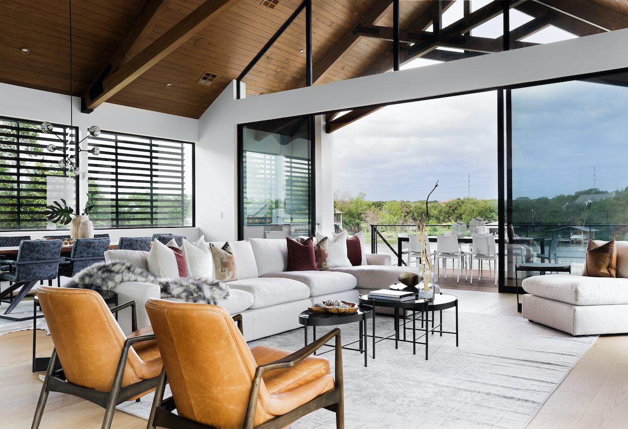 Horseshoe Bay Home Great Room staged by Elite Austin