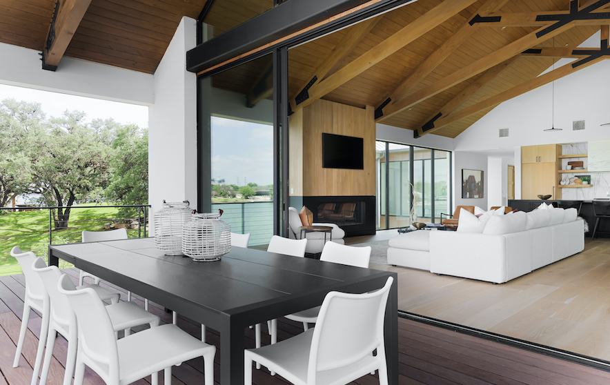 Horseshoe Bay Home Outdoor Dining staged by Elite Austin