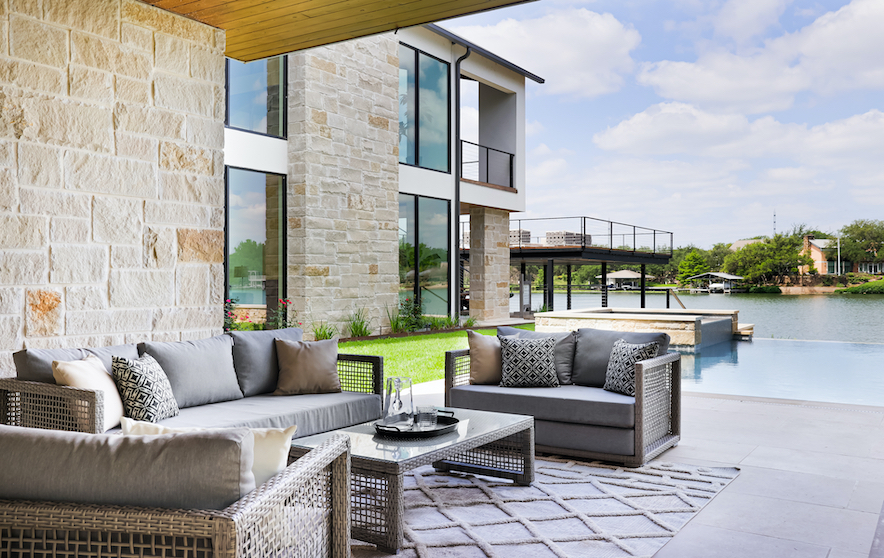Horseshoe Bay Home Outdoor Living staged by Elite Austin