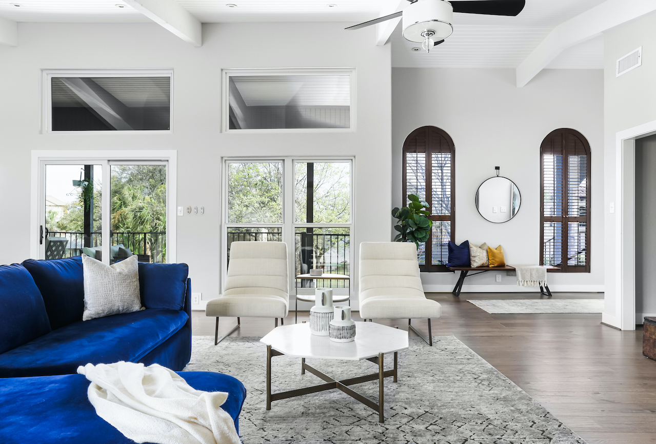 Horseshoe Bay Home Living Room and Entry Staged by Elite Austin