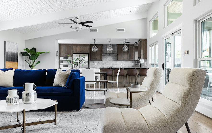 Horseshoe Bay Open Concept Living Room staged by Elite Austin
