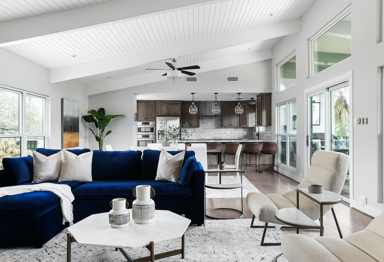 Horseshoe Bay Home Living Room Staged by Elite Austin