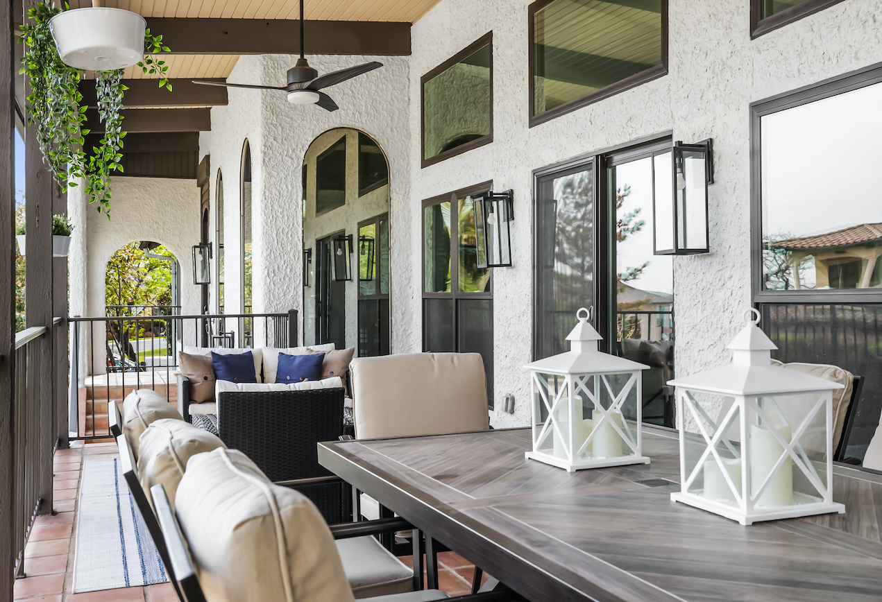 Horseshoe Bay Home Outdoor Dining Space staged by Elite Austin