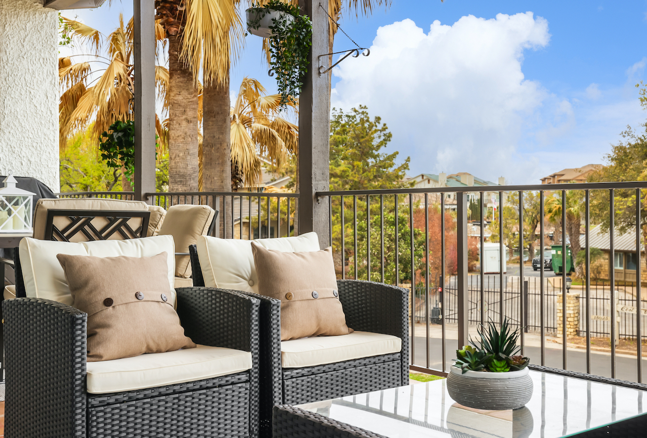 Horseshoe Bay Home Outdoor Living Space staged by Elite Austin